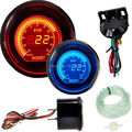 "2"" 52mm turbo boost vacuum car digital LED meter gauge tint lens blue red + free shipping"