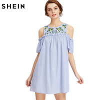 SheIn Embroidered Yoke Open Shoulder Frill Detail Striped Dress Summer Blue Short Sleeve Cute A Line