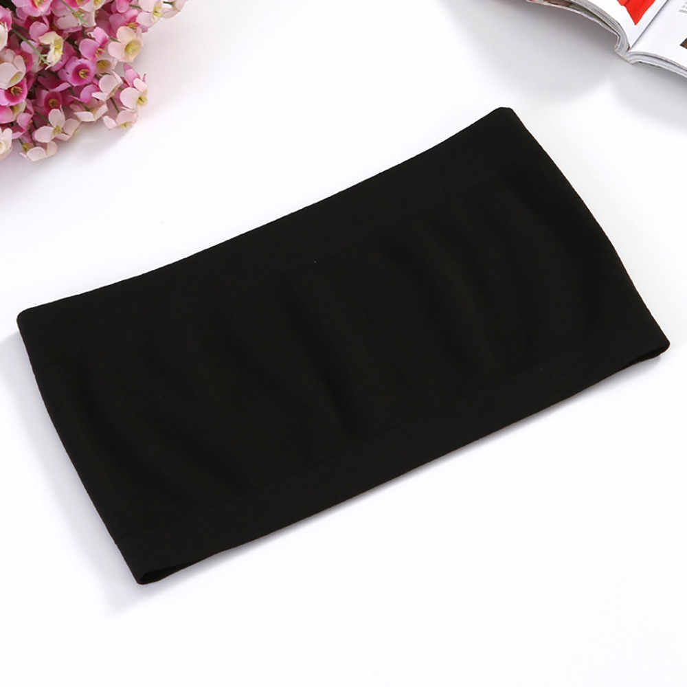 2018 New Women Strapless Seamless ice silk Padded Boob Bandeau Tube Tops Wrapped underwear Black white 2 Colors  P2