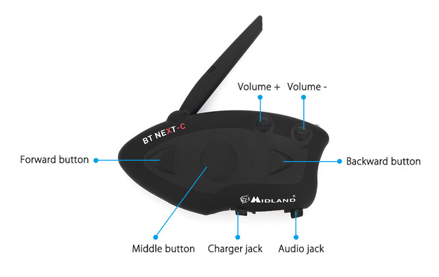 EU Plug MIDLAND BT NEXT 1600M Bluetooth 3.0 Version Motorcycle Motorbike Helmet Intercom Headset Water-resistant Interphone