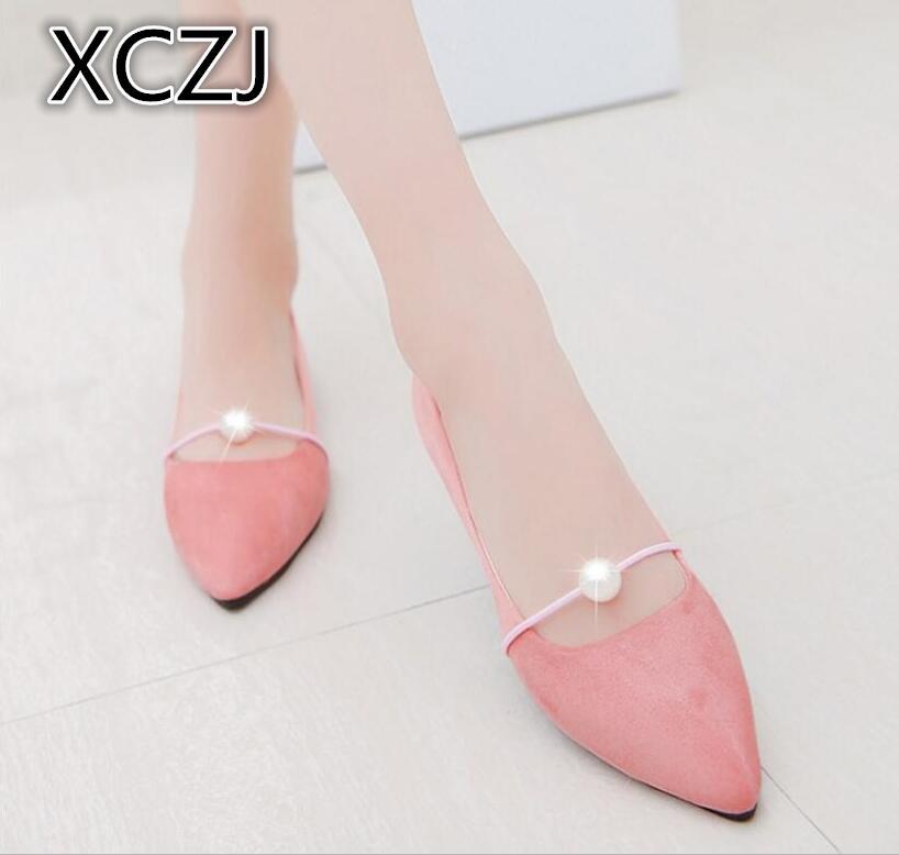 XCZJ 2019 Весна и лето новые остроносые туфли на плоской подошве с жемчугом Тонкие