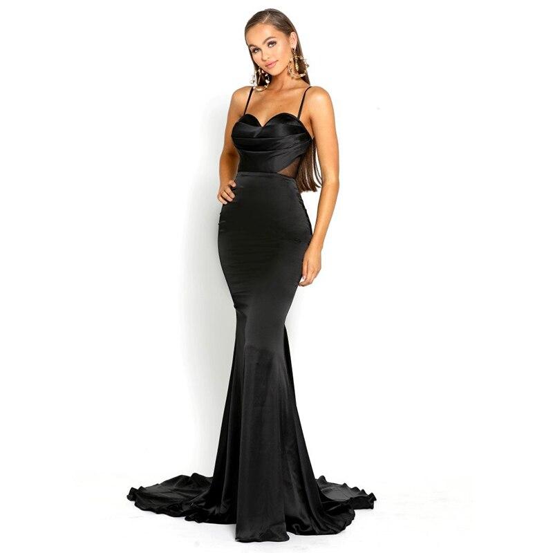 Hollow Out Mesh Black Navy Maxi Dress Sleeveless Floor Length Mermaid Night Party Dresses