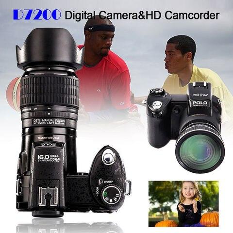 POLO D7200 Digital Camera 33MP Auto Focus Professional DSLR Camera Telephoto Lens Wide Angle Lens Appareil Photo Bag Tripod Karachi