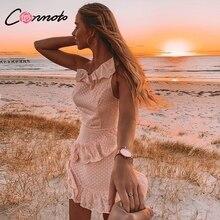 Conmoto Casual Polka Dot สั้นชุดหญิง 2019 ฤดูร้อนใหม่หนึ่งไหล่แขนกุด Ruffle ชีฟองชุดผู้หญิง Vestidos