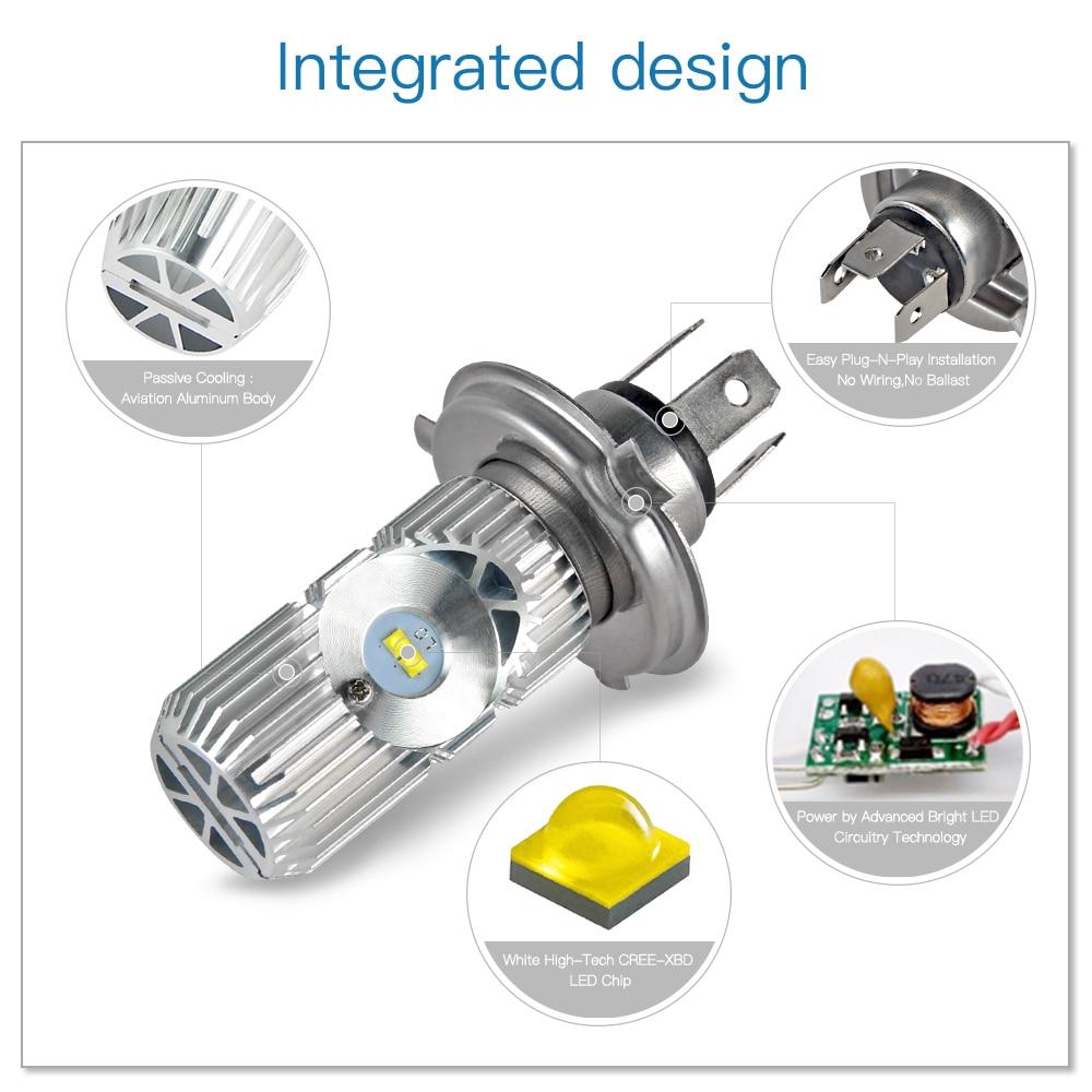 LED Motorcycle Headlight Bulbs Head Fog Lamp Light Bulbs For ZERO DS S SR 2015 H4 9003 Hi/Lo Beamn Ourdoors Lighting Bulbs 6500K