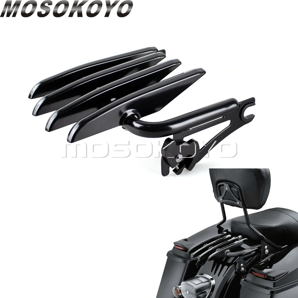 Black Detachable Luggage Rack for Harley Touring Road King Street Glide Classic Custom FLHR FLHX FLTR