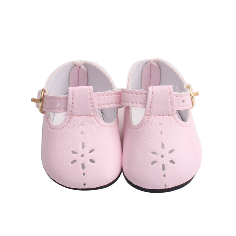 43 cm baby dolls shoes newborn cute pink PU shoes dress shoe Baby toys fit American 18 inch Girls doll g8 in Dolls Accessories from Toys Hobbies