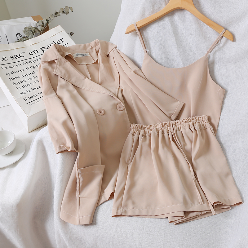 2019 Chic Vest +Jacket +simple Pure Color Elastic Waist Shorts Three-piece Suit 3 Piece Outfits For Women Summer Clothes