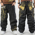 New men's Jeans Pants Embroidery HIPHOP Street Dance Leisure Loose Losing Weight Plus Size skateboard pants