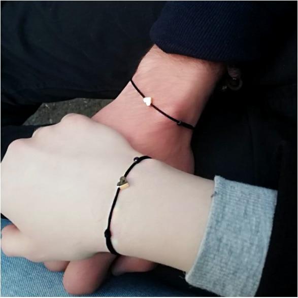 Lovely Heart Adjustable Red Rope Bracelet For Women Men Kids Red String His &Her Matching Paired Bracelets&Bangle Couple