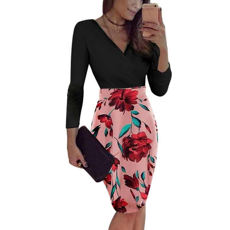 Laamei 2019 женское платье Boho печати Сексуальная Винтаж Женский цветочный Карандаш платья для женщин Вечеринка облегающее обтягивающее бедра Vestidos