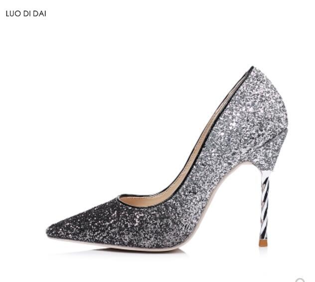 Gradient Femmes Pompes En Mariage Hauts 2019 Talon as Cuir Métal As Nouveau Soirée Chaussures Pic Pic Habillées Sequin Glitter Couleur Talons De WD9EH2YI