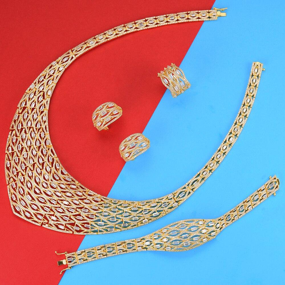 missvikki Hollow Design Luxury Jewelry Set Handmade Necklace Earrings Bracelet Ring for Women Wedding Engagement Party Jewelry missvikki Hollow Design Luxury Jewelry Set Handmade Necklace Earrings Bracelet Ring for Women Wedding Engagement Party Jewelry