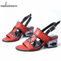 Mabaiwan 2018 Fashion Red Women Casual Shoes Summer Sandals Blue Genuine Leather Shoes Woman Buckle Gladiator Sandals Feminino