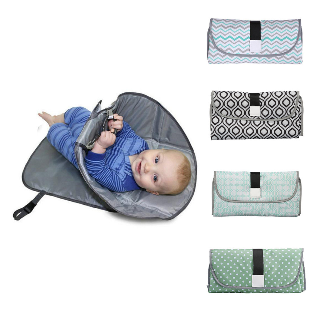 Newborns Foldable Waterproof Baby Diaper Changing Mat Portable Changing Pad Striped Velcro