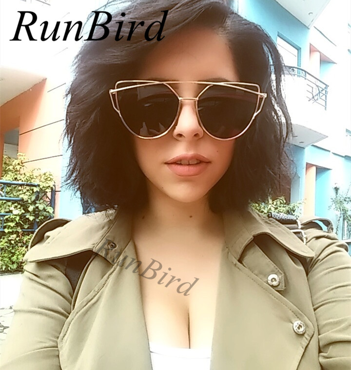 Runbird moda cat eye óculos de sol para as mulheres marca grife clássico  twin vigas óculos de sol espelho revestimento de lente plana m195 em Óculos  de sol ... f6cf081dd1