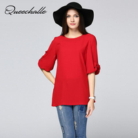 XL 6XL Plus Size Chiffon Blouse 2018 Summer Bow Cuff Half Sleeve Loose Women's Shirts Red Navy Color Large Size Women Blouses