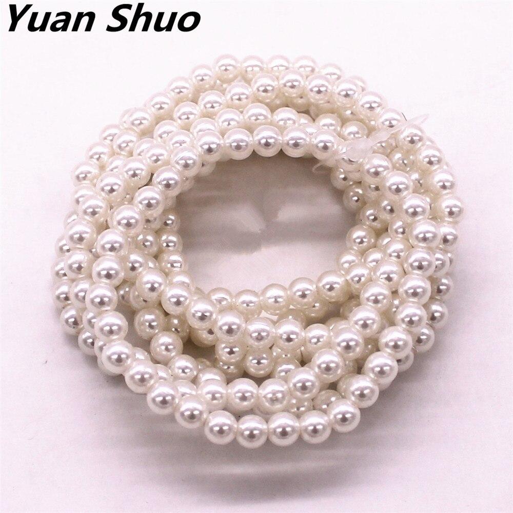 SJ SHI JUN 8mm Round Elastic Strecth Bracelets White Turquoise Bracelet With Heart Bead
