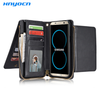 Xnyocn Retro Leather Wallet Case For Samsung Galaxy S5 S6 Edge S8 Plus S7 Edge Note 5 iPhone 6 6s 7 Plus