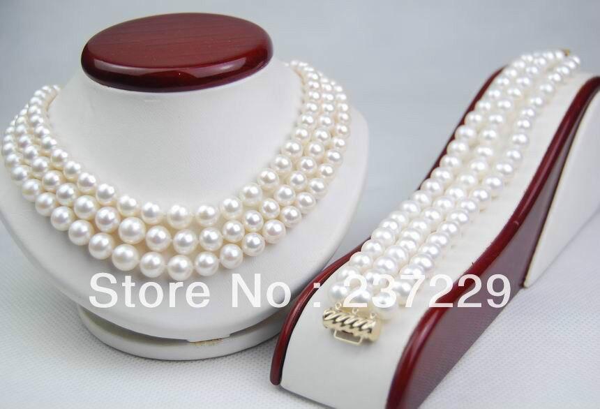 Prix de gros livraison gratuite ^ ^ ^ ^ GW naturel 8-9 MM AAA Triple brin blanc perle ensemble 14KT (collier et Bracelet)