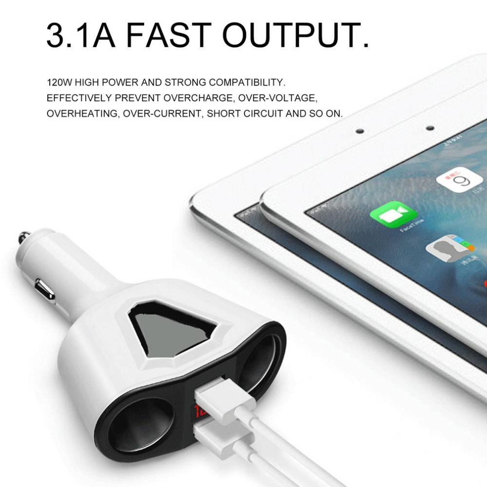Car Charger Digital Display Car Cigarette Lighter Dual USB Car Charger For Mobile Phone Charger Battery Voltage Monitoring