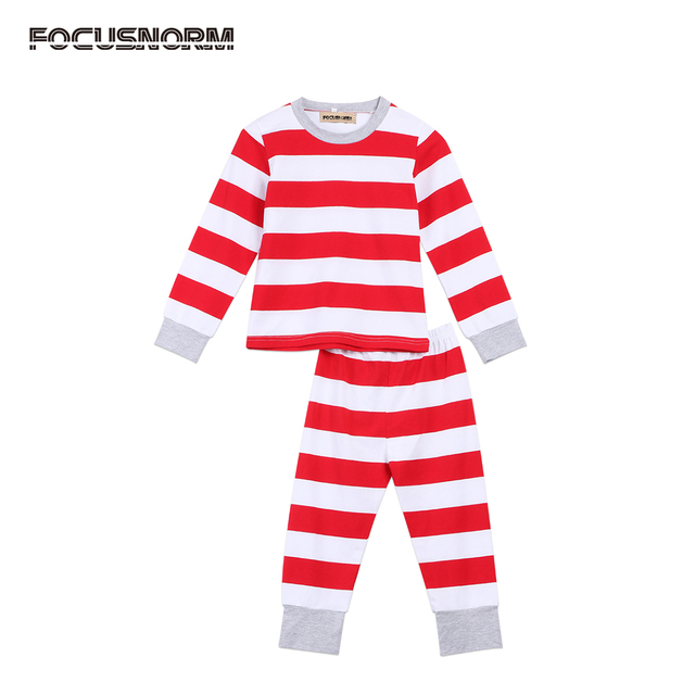 Christmas Family Striped Sleepwear Pajamas Set Kids Mums Dads Xmas Gift  Toddler Lovely Warm Family Red and White Striped Clothes 2ae9abf86