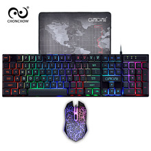 Gaming Keyboard and Mouse Combo LED Breathing Backlit USB Wired Full key Professional Colorful Mouse 3200 DPI Mechanical Feel стоимость