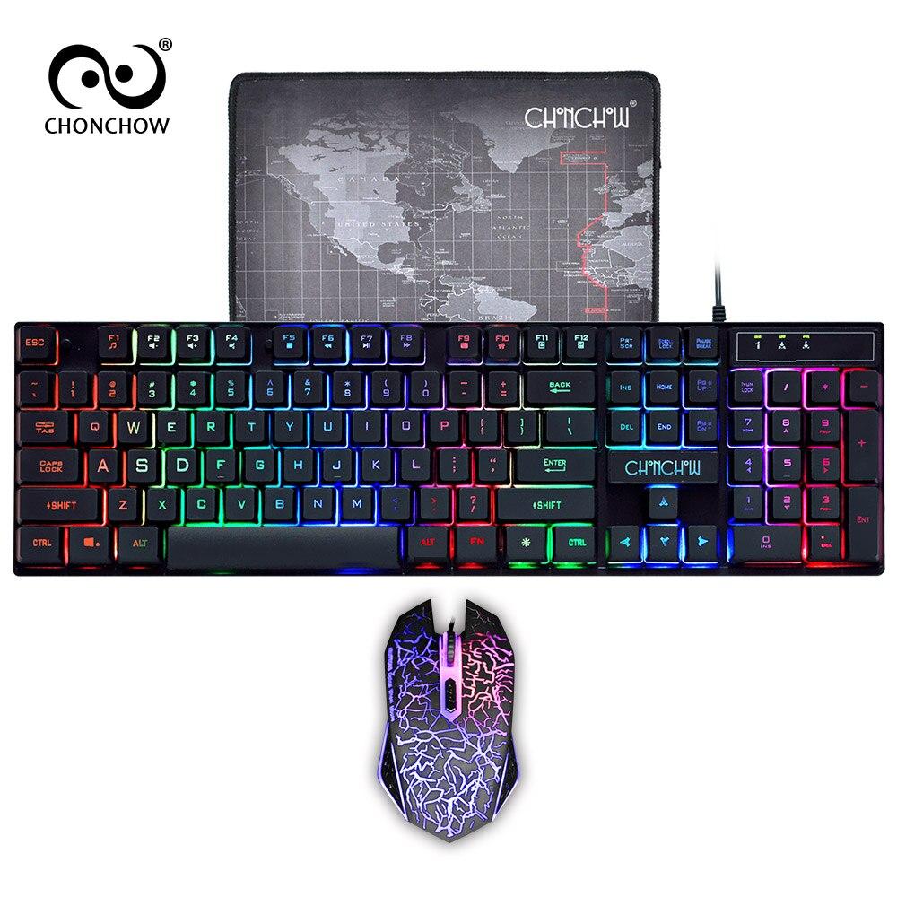 Tastiera Gaming e Mouse Combo LED Respirazione Retroilluminato USB Wired Full chiave Professionale Colorato Del Mouse 3200 DPI Meccanica Sentire