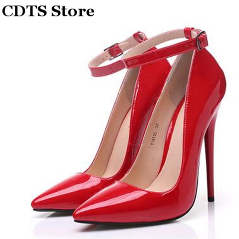 ФОТО CDTS:35-45 Crossdresser zapatos 2016 novelty sexy high-heeled japanned leather 14cm thin heels pointed toe pumps women's shoes