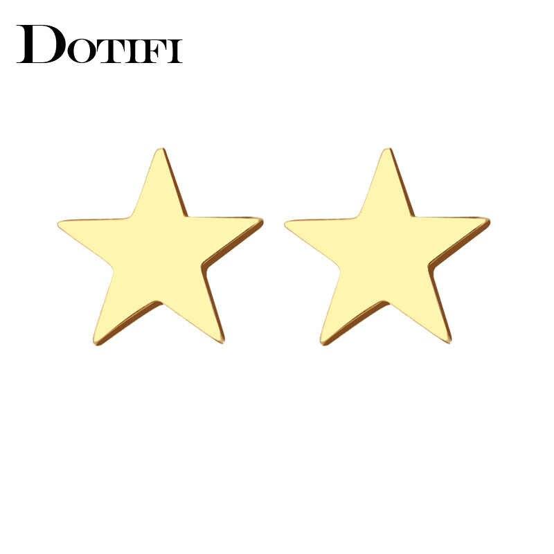 DOTIFI נירוסטה Stud עגיל לנשים איש פנטגרם זהב וכסף צבע מאהב של אירוסין תכשיטי זרוק חינם