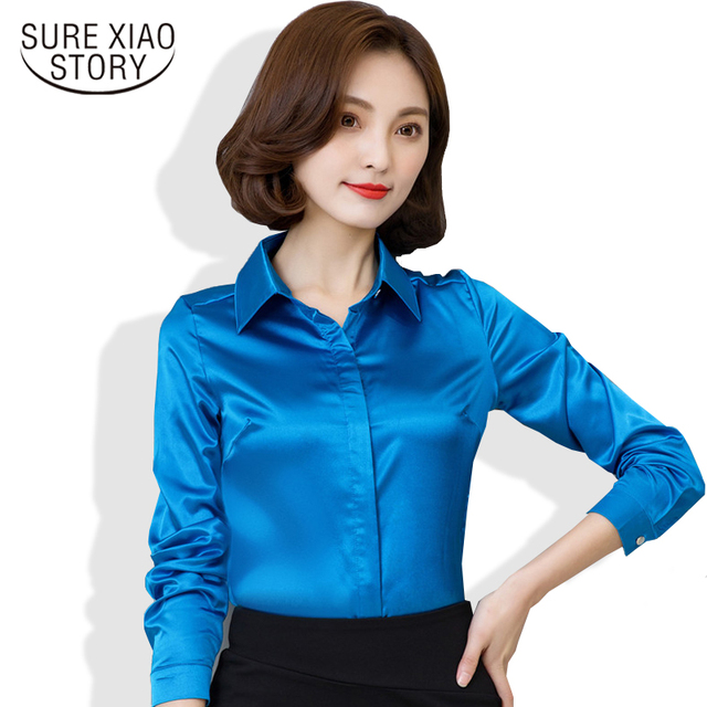 2017 new arrival hot sale female long sleeve silk blouse elegant