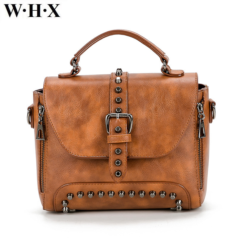WHX 2017 Vintage Leather Bags Crossbody Bags For Women Messenger Bags Handbags ladies handbag Rivet Shoulder Female fashion bagWHX 2017 Vintage Leather Bags Crossbody Bags For Women Messenger Bags Handbags ladies handbag Rivet Shoulder Female fashion bag