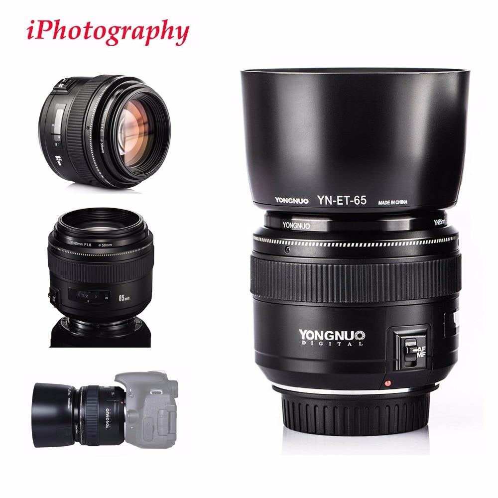 YONGNUO YN85mm F1.8 objectif Standard moyen téléobjectif + Kit de pare-soleil pour Canon EF caméra 7D 5D 1D Mark I II III 6D 80D 70D 760D