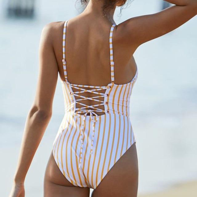 MUQGEW One Piece Swimsuit 2018 Sexy Swimwear Women Bathing Suit Swim Vintage Summer Beach Wear Printed Bandage Monokini Swimsuit 2