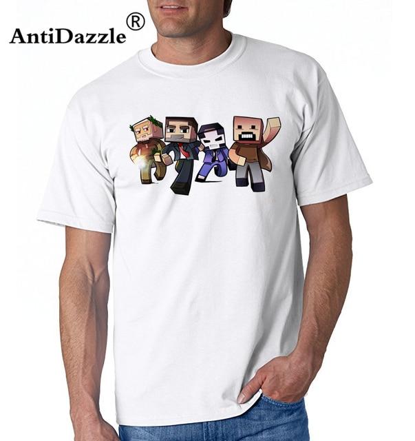 176cd699 Minecraft Character Group Men's T-Shirt Summer O-Neck Man Tee Shirt Homme  Short Sleeve Cotton Fitness TShirt Super Size Blouse