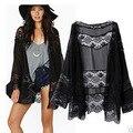 Черный шифон кимоно кружева колющими кимоно с длинным рукавом шаль куртка