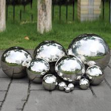 Новинка из нержавеющей стали, титановый золотой серебряный полый шар, бесшовное украшение для дома и сада, зеркальный шар, вечерние украшения