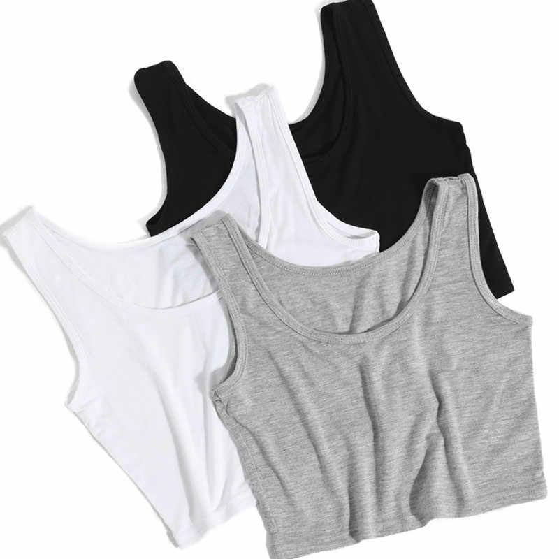 2019 Summer Slim Render Short Top Sexy Women Sleeveless U Croptops Tank Tops Solid Black/White Crop Tops Vest Tube Top 8Color