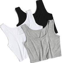 2019 Summer Slim 렌더링 Short Top Sexy Women 민소매 U Croptops 조 (탑 Solid Black/White Crop 탑 Vest 관 탑 8 색(China)
