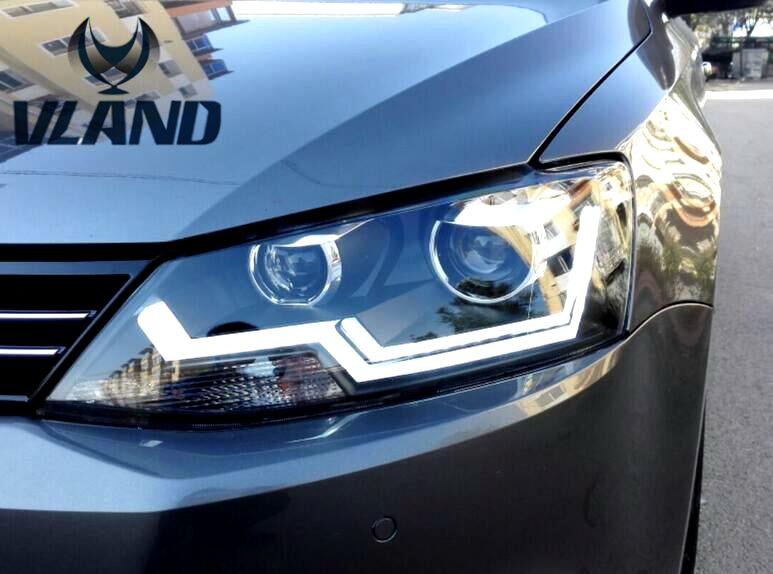 Free shipping for Car Styling Headlights For VW Sagitar Jetta 2012 2014 2015 LED Jetta head lamp DRL and BI Xenon lens