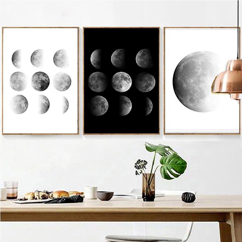 Fasi lunari di Arte Stampa Lunare Costellazioni del Cielo Notturno Stampabile Poster Da Parete in Bianco e Nero Digitale Scaricare Scandinavo
