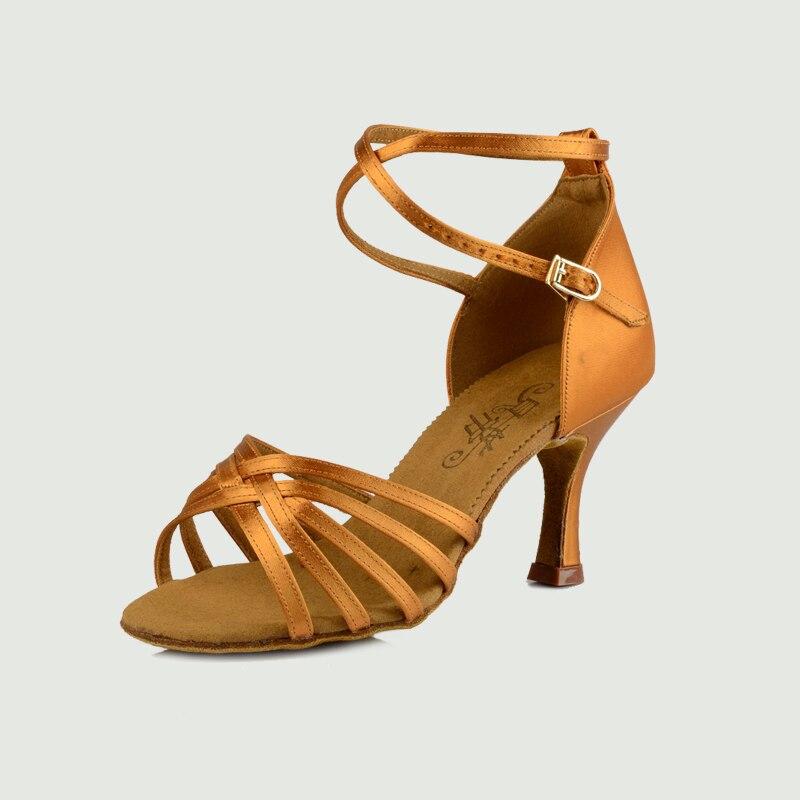 Žena Latino plesne cipele Ballroom Flash satenske cipele Proljetna kopča Tanke pete Slavni bend Popust BD 211 Besplatni dar
