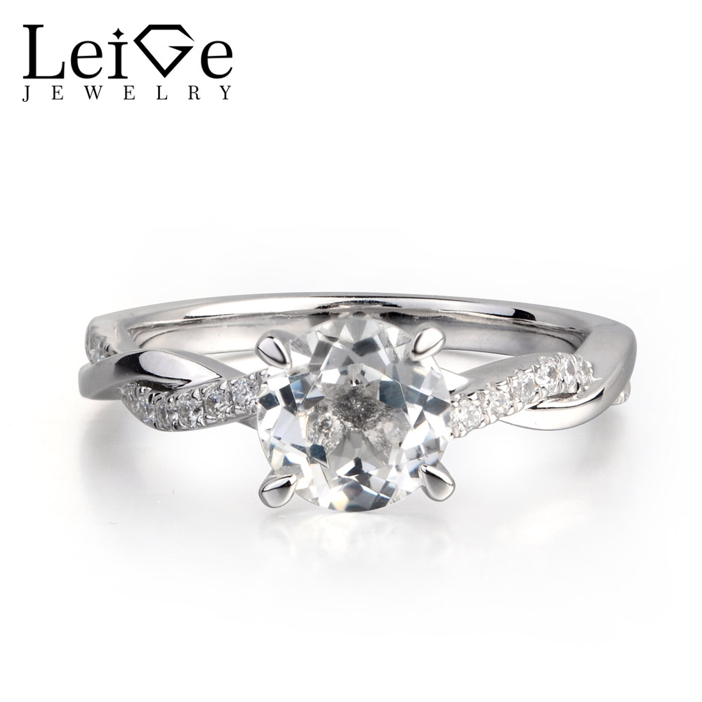 Leige Jewelry Natural White Topaz 925 Sterling Silver Gemstone Round Cut Engagement Rings For Woman November BirthstoneLeige Jewelry Natural White Topaz 925 Sterling Silver Gemstone Round Cut Engagement Rings For Woman November Birthstone