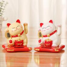 Solar shaking hands lucky cat checkout counter decoration waving cat oranment for home office shop decor wealth fortune crafts
