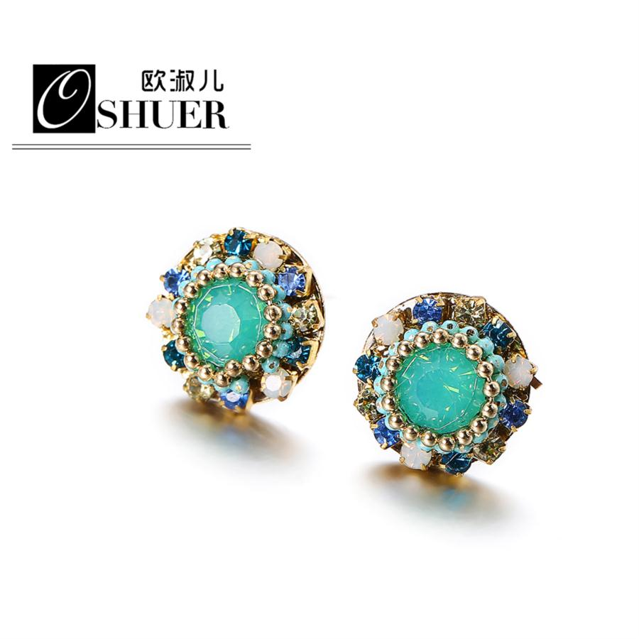 OSHUER 2018 New handmade Fashion Round Earrings for Women Crystal Stud Earrings Patriotic Jewelry