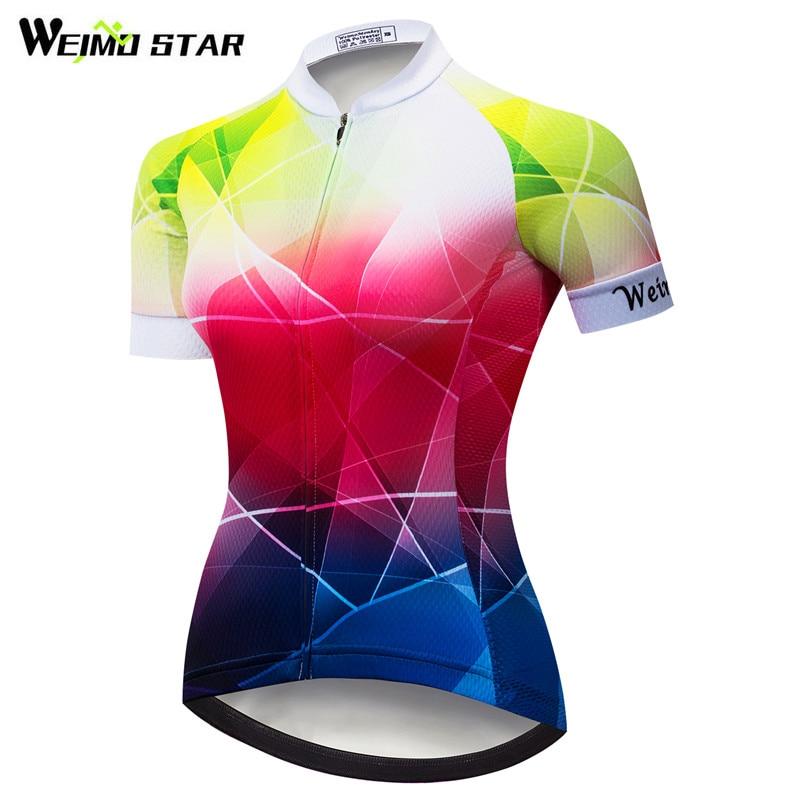 Weimostar 2018 Kerékpáros dzsörzé Női Csapatverseny Kerékpáros ruházat Ropa Ciclismo Nyári Rövid ujjú MTB Bike Jersey Kerékpár Ing