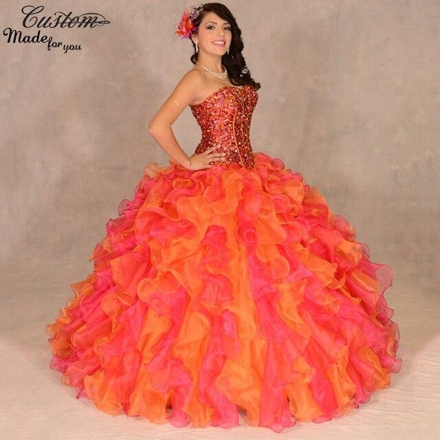 c1ba6a4a4 Vestidos De 15 años barato lentejuelas 2016 mascarada del vestido De bola  dos tonos colores volantes
