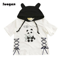 Harajuku Panda Hoodie T Shirt Women Summer Short Sleeve T Shirt Cute Girls Punk Lolita T