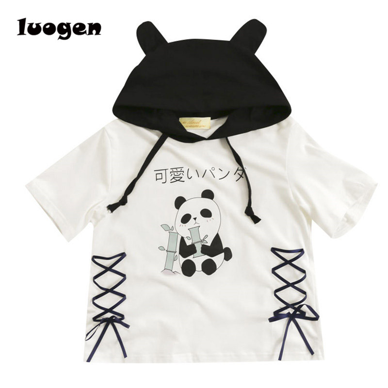 Harajuku Panda Hoodie T shirt Women Summer Short Sleeve t-shirt Cute Girls Punk Lolita T-shirt Tops Tee Shirt Wholesale Lot