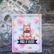 Naifumodo Bear Dies Sets Metal Cutting Dies Scrapbooking Hugs Kisses Heart Clear Stamps Craft Dies Cards Making Die Cuts New